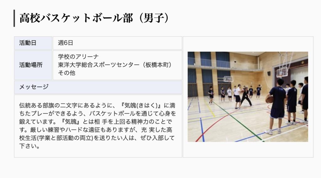 東洋大京北バスケットボール部