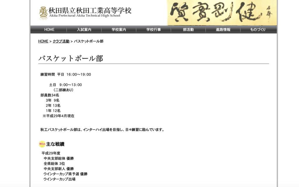 秋田工業バスケットボール部